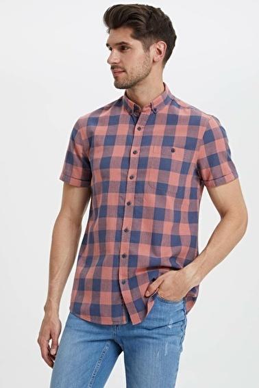 DeFacto Kısa Kollu Kareli Gömlek Kırmızı